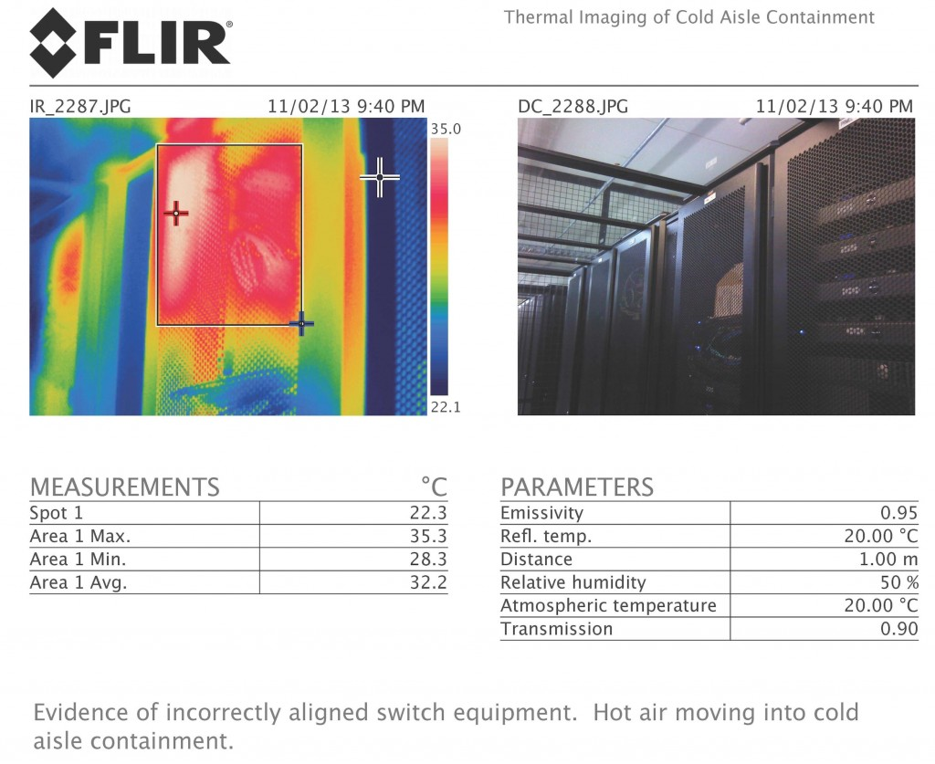Misaligned equipment in cold aisle Thermal imaging